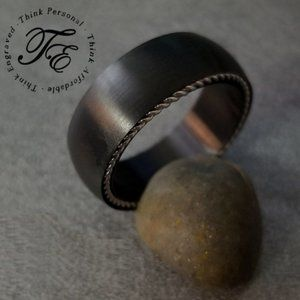 Black Wire Cable Inlay Wedding Band Promise Ring